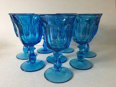 Vintage Blue Glass Goblets, Azure Blue Pressed Glass Water Goblets, Blue Wine Glasses Mason Jar Wine Glass, Glass Bottles, Colored Wine Glasses, Cut Glass, Glass Art, Pink Milk, Wine Goblets, Pressed Glass, Antique Glass