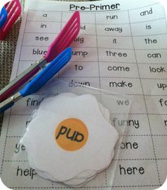 Sight Words {Sunny Side Up}...  just print, laminate, and cut out... let the fun begin.  Grab some cute & colorful spatulas at the dollar store to up the excitement at this center!  You could also have the kiddos put 5-10 eggs in ABC order, etc.