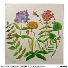 Botanical Illustration on Cloth Napkin Set