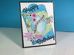 Birthday card made from the Wonderful Wreath stamp set from the Stamp of Approval July collection.