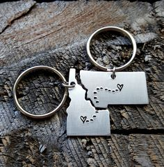 Personalized State Keychain Set ANY 2 States hand stamped gift long distance relationship gift couples gift boyfriend girlfriend gift (22.00 USD) by TheLonelyMoose