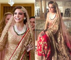 Anushka Sharma's wedding look in a red and gold lehengas with embroidery work paired with a dull gold long shirt and beautiful Kundan and emerald bridal jewellery and jhoomar by manish Manish Malhotra for Ae dil hai mushkil Indian Bridal Wear, Indian Wedding Outfits, Pakistani Bridal, Pakistani Outfits, Bridal Outfits, Bridal Lehenga, Bridal Dresses, Manish Malhotra Bridal, Desi Wedding