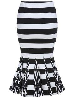 Black White Striped Fishtail Skirt , 40% Off 1st Order