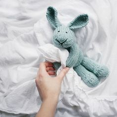 LiLi LOVE handmade knitted plush bunny toy from beautiful light blue wool blend yarn on Etsy, $78.00