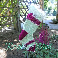 Raspberry Mint Knit Christmas Stocking. $48.00, via Etsy.