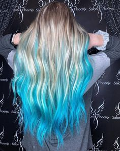 Gorgeous turquoise dip dye by @hallieatsalonphoenix 💎 Use Cyan Sky to re-create this look #lunartides #cyansky #turquoisehair Kids Hair Color, Cute Hair Colors, Beautiful Hair Color, Hair Color Blue, Hair Colours, Diy Hair Dye, Hair Dye Tips, Long Hair Tips, Colored Hair Tips