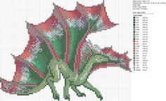 Cross-stitch Dragons by carand88...   Christmas Green Red Dragon by carand88