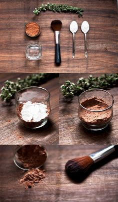 Make your own foundation powder using  *arrowroot powder *cocoa *cinnamon  If you want to make blush add very finely crushed (MUST BE VERY DRY) beetroot