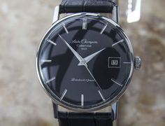 """SEIKO """"Champion"""" Vintage 1950's - Cal. 851 (with dater). Repainted black dial."""