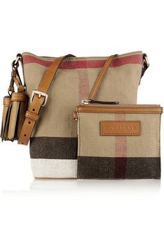 Multicolored checked canvas, tan leather (Calf) Snap fastening at open top Comes with dust bag Weighs approximately 0.4lbs/ 0.2kg