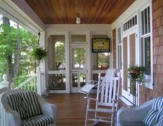 Two separate porches, one open and the other screened with screened door entrance.