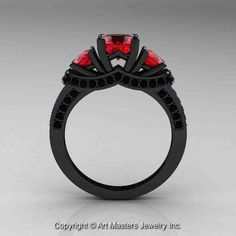 Black Diamond And Ruby Engagement Rings