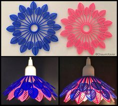 A combine #minimalist #pendant 💡#lamp 🍂#leaf #shape #printed with @ninjaflex3d #flamingo and #sapphire , #3dprinting #pendantlight #pendantlamp #lampe #light #pink #blue #rose #bleu #interiordesign #interior #decoration #ultimaker #diy #nantes #productdesign Pendant Lamp, Flamingo, Pink Blue, 3d Printing, Sapphire, Minimalist, Ceiling Lights, Shapes, Printed
