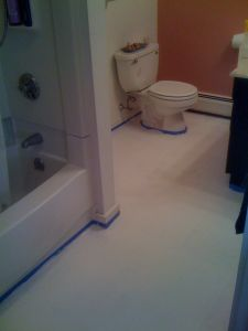 Learn how to paint vinyl floors for long lasting results for Painting over vinyl floor