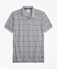 Slim Fit Windowpane Polo Shirt Sports Shirts, Polo Shirts, Fabric Structure, Spring Shirts, Shirt Sale, Logo Color, Brooks Brothers, Mens Tees, Men Casual