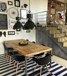 Good Looking Artistic Brick Wall Design for Your Home - YaQueen Vintage Industrial Decor, Industrial House, Industrial Interiors, Kitchen Dining, Kitchen Decor, Sweet Home, Dinner Room, Home And Deco, Dining Room Design