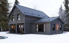 Farmhouse house plans barn homes Ideas Modern Farmhouse Exterior, Farmhouse Design, Farmhouse Ideas, Farmhouse Decor, Metal Building Homes, Building A House, Building Ideas, Black House Exterior, Casas Containers
