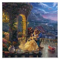 ''Beauty and the Beast Dancing in the Moonlight'' Gallery Wrapped Canvas by Thomas Kinkade Studios | shopDisney
