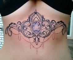Sternum tattoo.