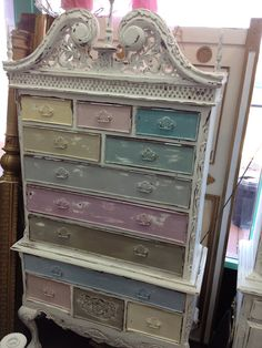 Vintage Inspired Shabby Chic Multi-Colored Queen Anne Cabinet Dresser on Etsy, $650.00