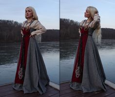 A handmade apron dress set. Everything included in this listing are: The beige under tunic (made out of linen), the grey apron dress (made out of. Viking Garb, Viking Dress, Viking Costume, Medieval Costume, Medieval Dress, Medieval Fashion, Costume Roi, Costume Dress, Vikings