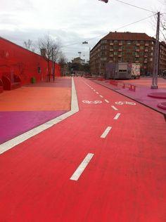 """This is the """"Superkilen"""" bike lane in Copenhagen"""