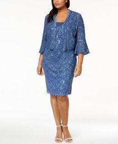 32da55395 Alex Evenings Plus Size Sequined Lace Dress   Jacket   Reviews - Dresses -  Women - Macy s