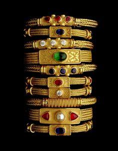 22K Yellow Gold Stack of Bracelets w Precious & Semi-Precious Stones by Bikakis Modika Johns