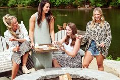You're invited to Summer Camp with Mud Pie! Camp is s'more fun with friends, so come along for an adventure and check out our tips and tricks for making the most of your experience! #mudpiegift #camp #campmudpie #summerfashion Beach Cover Ups, Swim Cover, Campfire Snacks, Mud Pie Gifts, Fishing Tournaments, Beach Tunic, Leopard Sweater, Easy Day, Fishing Shirts
