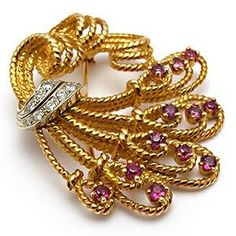 VINTAGE ESTATE NATURAL RUBY & DIAMOND BROOCH PIN SOLID 18K GOLD