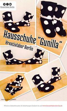 Kuschlige Hausschuhe Schnittmuster: http://www.kreativlaborberlin.de/naehanleitungen-schnittmuster/hausschuhe-gunilla/