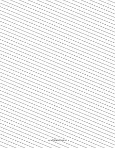 This slant ruled paper features narrow-ruled lines for writing rotated slightly clockwise. Free to download and print
