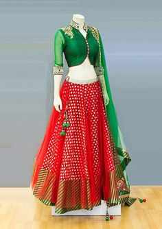 Red lehanga with green blouse - long white blouse, online blouse, blouse silk *ad Choli Designs, Sari Blouse Designs, Lehenga Designs, Lehenga Blouse, Saree Dress, Indian Attire, Indian Wear, Indian Dresses, Indian Outfits