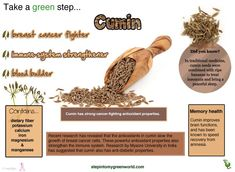 ☛ Cumin: a flavorful spice which has medicinal uses for breast cancer.    ➸ Cumin's most important uses may be in treating cancer. Study has revealed that cumin may slow the growth of breast and colon cancer cells.   ❥ Cumin appears to act against cancer via its strong radical scavenging activity.  PLEASE ✒ Share | Like | Re-pin | Comment