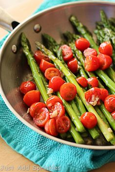 Sauteed Asparagus with Grape Tomatoes | Just Add Sprinkles