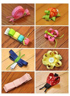 snail, turtle, butterfly, caterpillar, flower, dragon fly, ladybug ribbon hair clips
