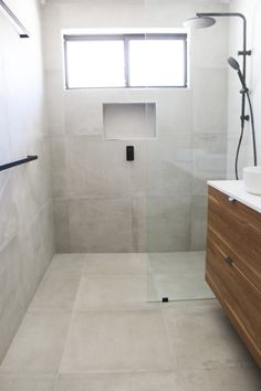 Small Bathrooms Perth WA Walk In Shower Concrete Bathroom Shower Niche/Recess Set Up Grey and Hexagon Bathroom Tiles Black Tapware and Grey Bathroom Small Bathroom Ideas Bathroom Niche, Grey Bathroom Tiles, Shower Niche, Small Bathroom Storage, Master Bathroom, Bathroom Ideas, Bathroom Inspo, Bathroom Faucets, Bathroom Inspiration