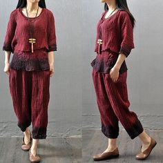 Women summer casual cotton linen suit (three-pieces)