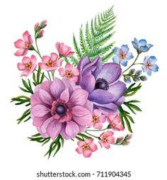 Folk Art Flowers, Botanical Flowers, Botanical Prints, Flower Art, Vintage Flower Prints, Vintage Flowers, Floral Prints, Watercolor Flowers, Watercolor Paintings