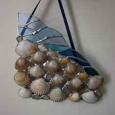 "stained glass ocean wave | Folksy :: Buy ""Sea Waves and Shells Stained Glass Panel"""