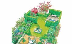 Gestaltungsidee für einen kleinen Garten mit englischem Country-Flair