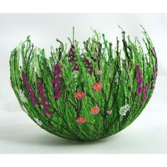 Hedgerow Bowl by chocolatefrog on Etsy, textile art by Anne Honeyman - free machine embroidering on soluble fabric Free Motion Embroidery, Paper Embroidery, Machine Embroidery, Embroidery Designs, Textiles, Water Soluble Fabric, 3d Quilling, Thread Painting, Fabric Art