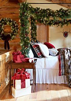 140 best christmas bedroom decor images christmas decorations rh pinterest com Rustic Cabin Christmas Decorations Summer Cabin Decorated for Christmas