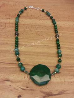 22 Green Gemstone Necklace by MissLexJewelry on Etsy, $40.00