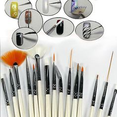 &15x white #brush for nail art tips gel #drawing acrylic #painting nail kit, View more on the LINK: http://www.zeppy.io/product/gb/2/252305320576/