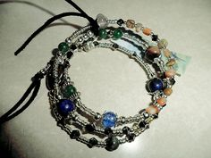 Wrap Bracelet,Lapis Chakra & Gemstones,Silver Czech Beads,Tassels,Fully Adjustable by DowneastMaineDesigns on Etsy