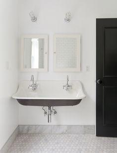 black + white modern farmhouse bath