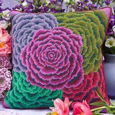 "Kaffe's ROSETTE 16"" needlepoint cushion kit design"
