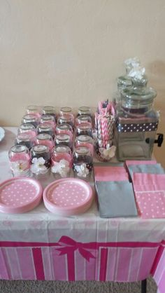 Pink gray birthday party drink table