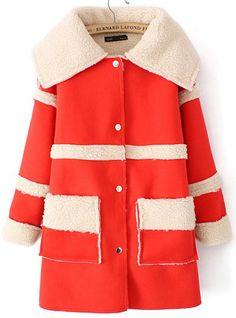 Orange Lapel Long Sleeve Pockets Trench Coat US$53.44